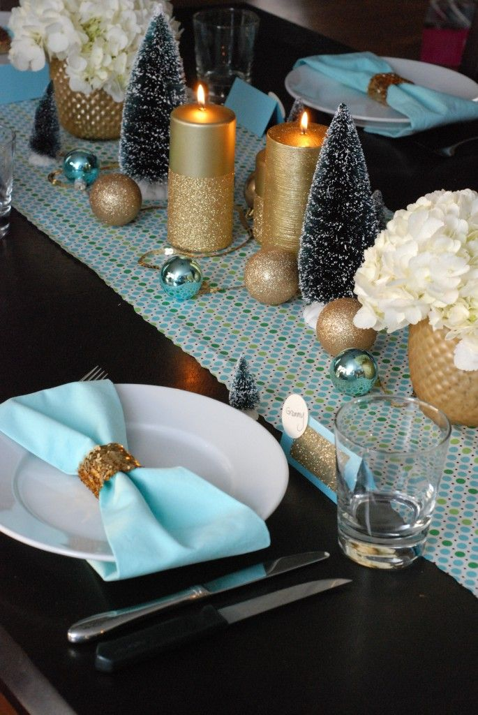 Robin Egg Blue And Gold Dinner Party Christmas Christmas Table Decorations Christmas Dinner Table Winter Dinner Party