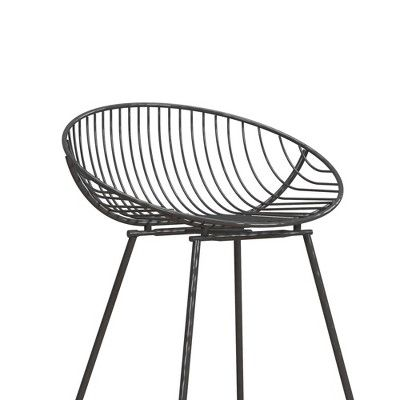 Admirable Ellis Wire Counter Stool Gray Cosmoliving By Cosmopolitan Creativecarmelina Interior Chair Design Creativecarmelinacom