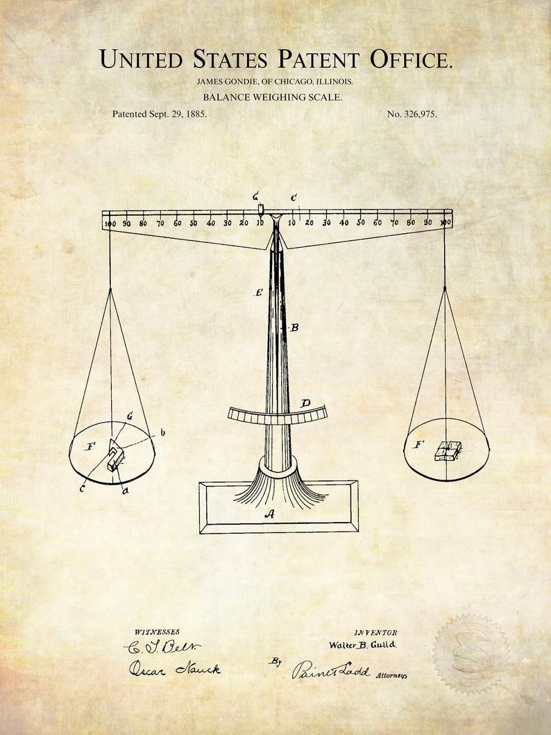 1885 weighing scale patent vintage scale available