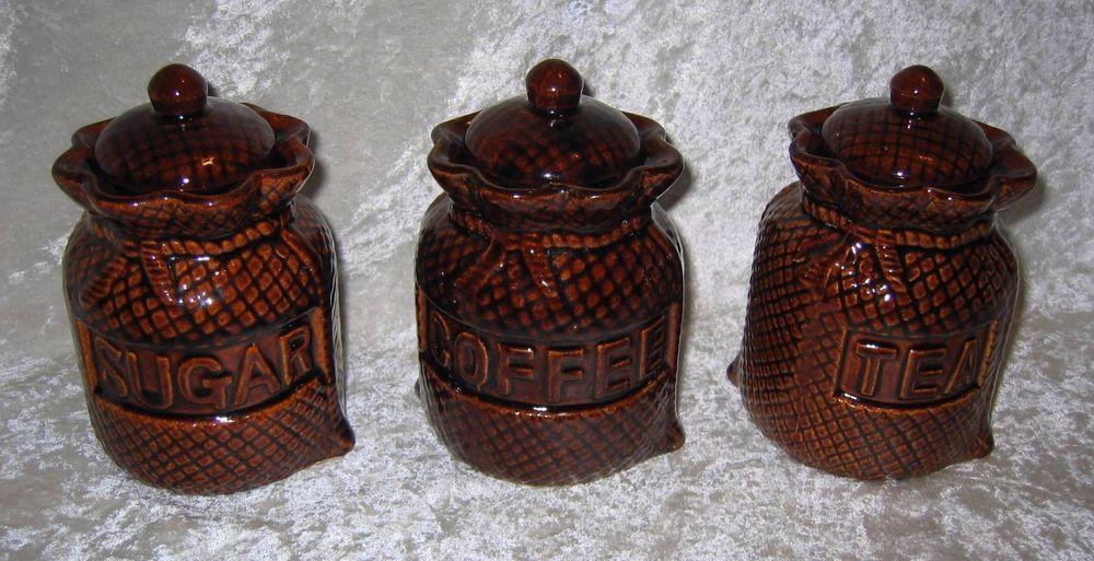 Ceramic Burlap Sacks Canister Set Coffee Tea Sugar Bright