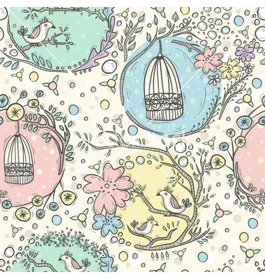 Seamless pattern with birdcages flowers and birds vector by lapesnape on VectorStock®