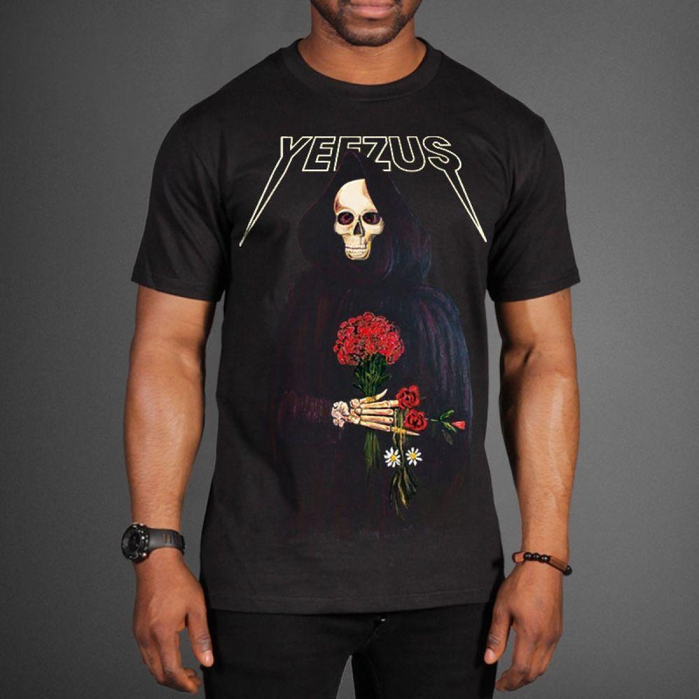 Black t shirt ebay - Details About Kanye West Yeezus Tour Merchandise Yeezy Skull Sickle Roses Gildan T Shirt