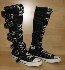 5934f23a5163 Converse All Star Zipper Buckle Lace Black Boots Mens 8 Womens 10 Knee High