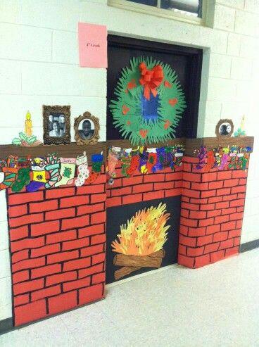 Large Fireplace Door Dec Christmas Classroom Door