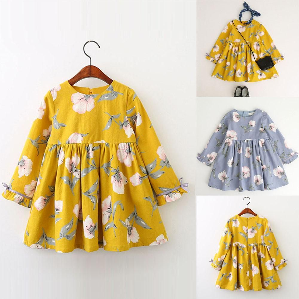 Toddler Kid Baby Girl Clothes Floral Bowknot Princess Party Dresses Outfits