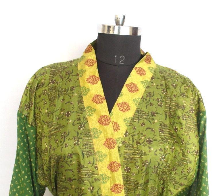 Indian Vintage Sari Kimono Art Silk Robe Recycled Used Fabric Sari Dress Patchwork Robe Sleepwear Bridal Kimono Dress Oriental Robe #TMK 147 #saridress