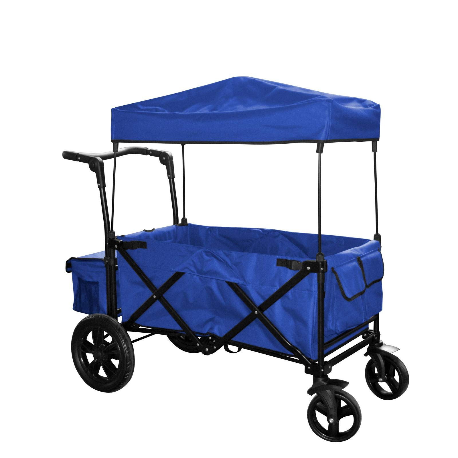 Asher Amada Blue Outdoor Folding Push Wagon Canopy Garden