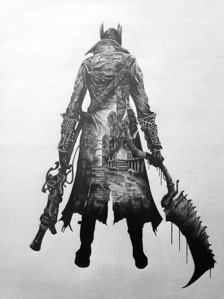 girlfriend drew Bloodborne artwork in her free time. Thought it belonged here.