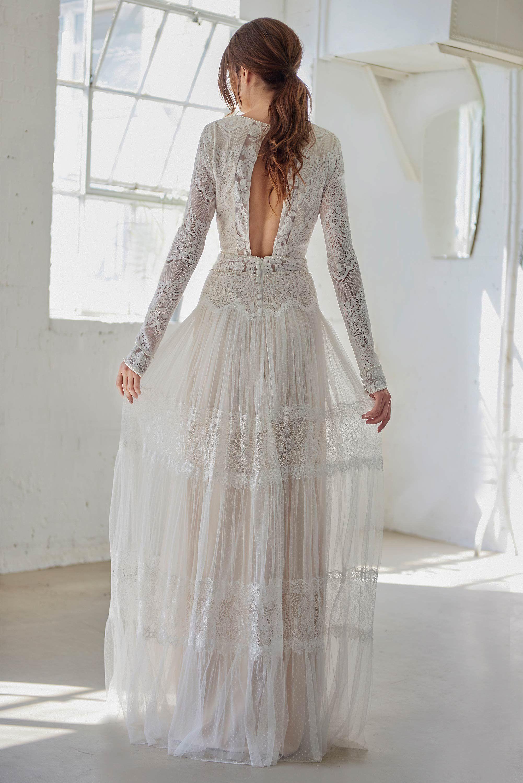 Vintage Boho Wedding Dress With Long Sleeves High Neck Etsy High Neck Wedding Dress Lace Wedding Dress Vintage Vintage Wedding Dress Boho