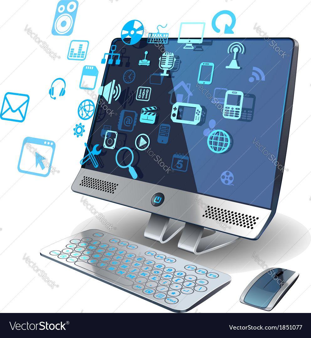 Computer Networks Vector Image On Vectorstock Computer Technology Computer Network Computer Vector