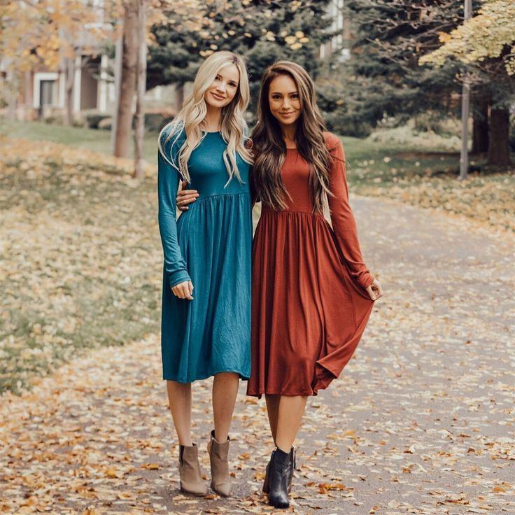 Empire Pocket Midi Dress #modestfashion