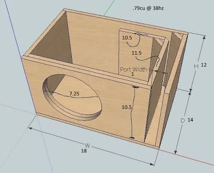 Single 18 Inch PORTED Subwoofer Box Design CT t