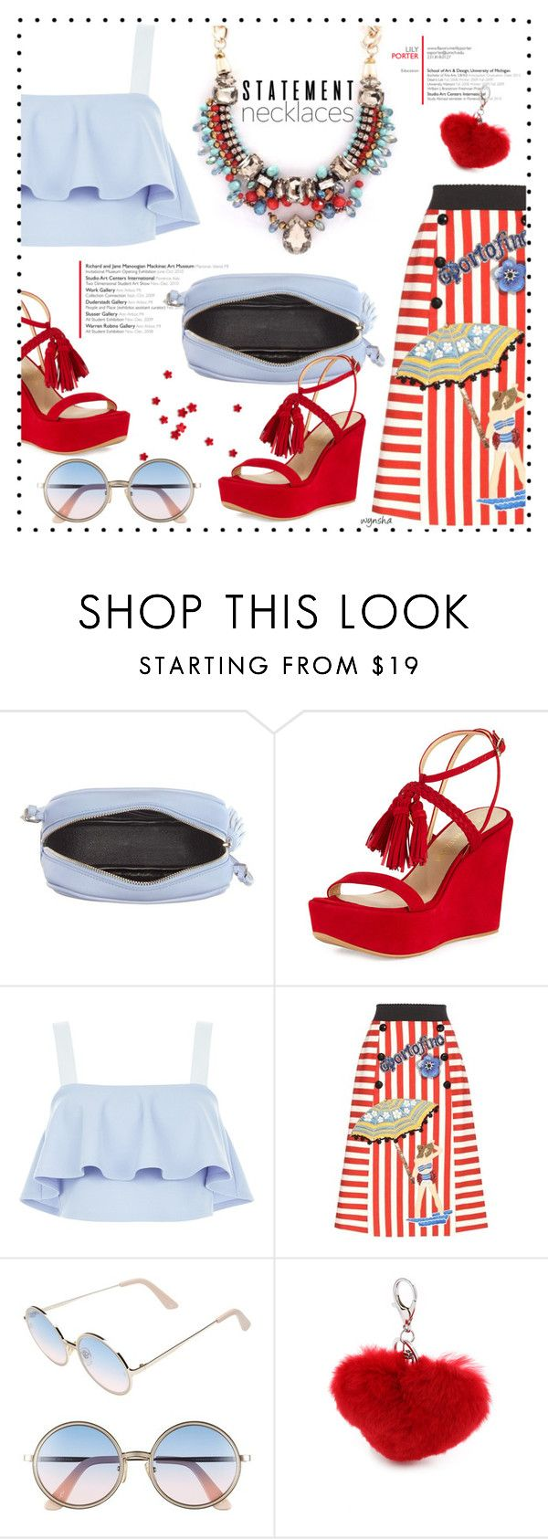 """""""Pretty Necklaces #3"""" by wynsha ❤ liked on Polyvore featuring Yves Saint Laurent, Stuart Weitzman, New Look, Dolce&Gabbana, Sunday Somewhere and Jocelyn"""