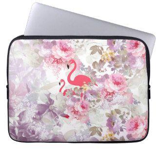 Girly cute pink flamingo vintage pastel flowers laptop computer sleeves