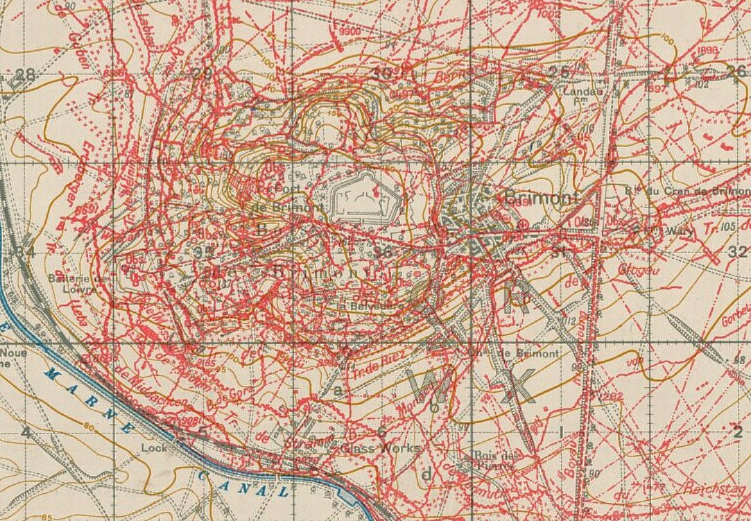 WWI, 1918 - A British trench map of German defenses built ...
