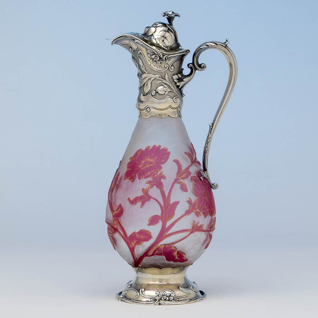 Gorham Art Nouveau Silver Art Glass Mounted Gilt Claret Jug