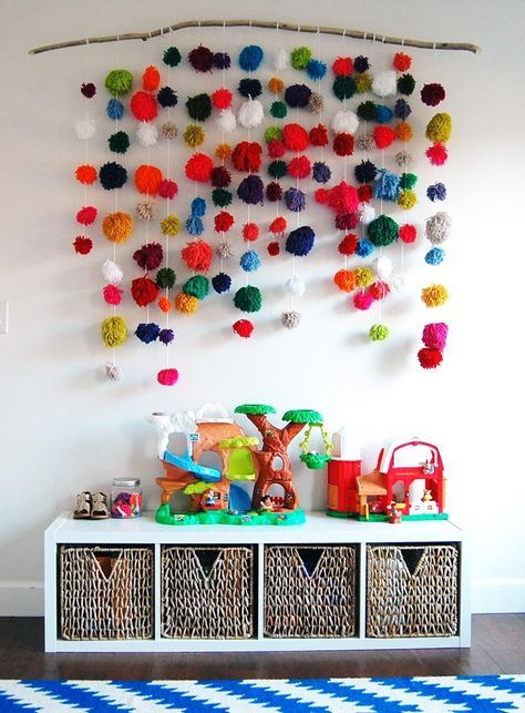 DIY Projects & Pops of Color Modernize a Virginian Colonial | Diy wall art,  Playroom design, Hanging wall decor
