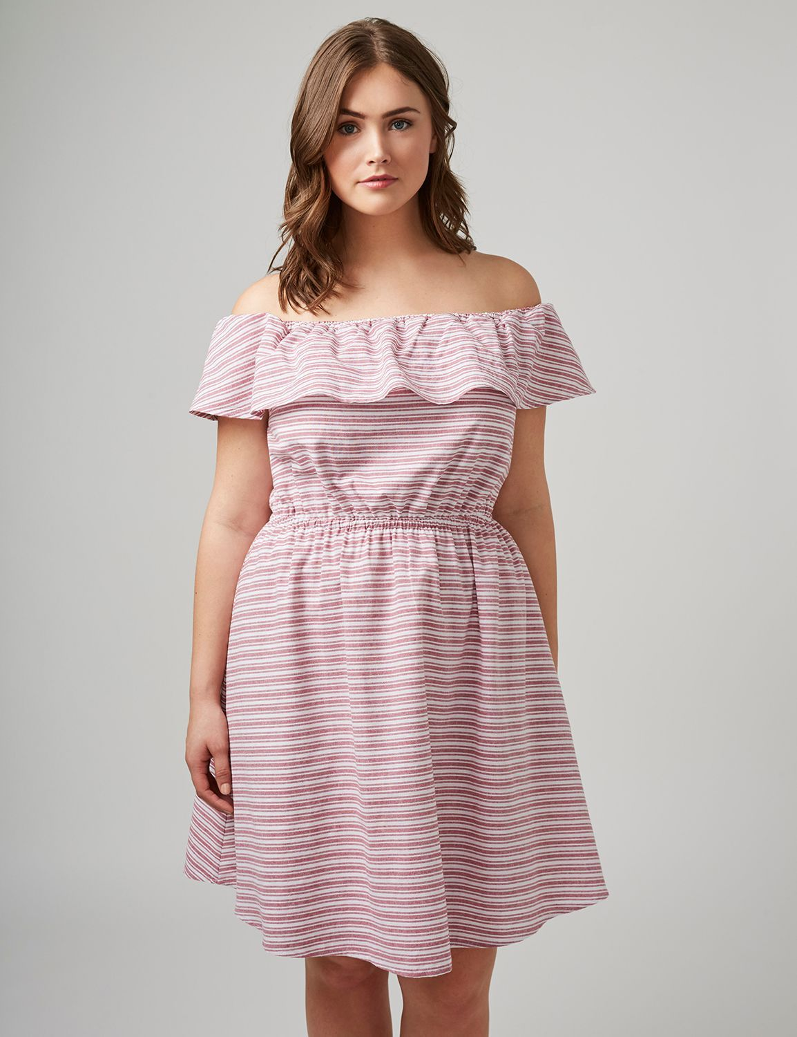 fdc29797a9e Off-the-Shoulder Striped Dress | Products | Striped dress, Fashion ...