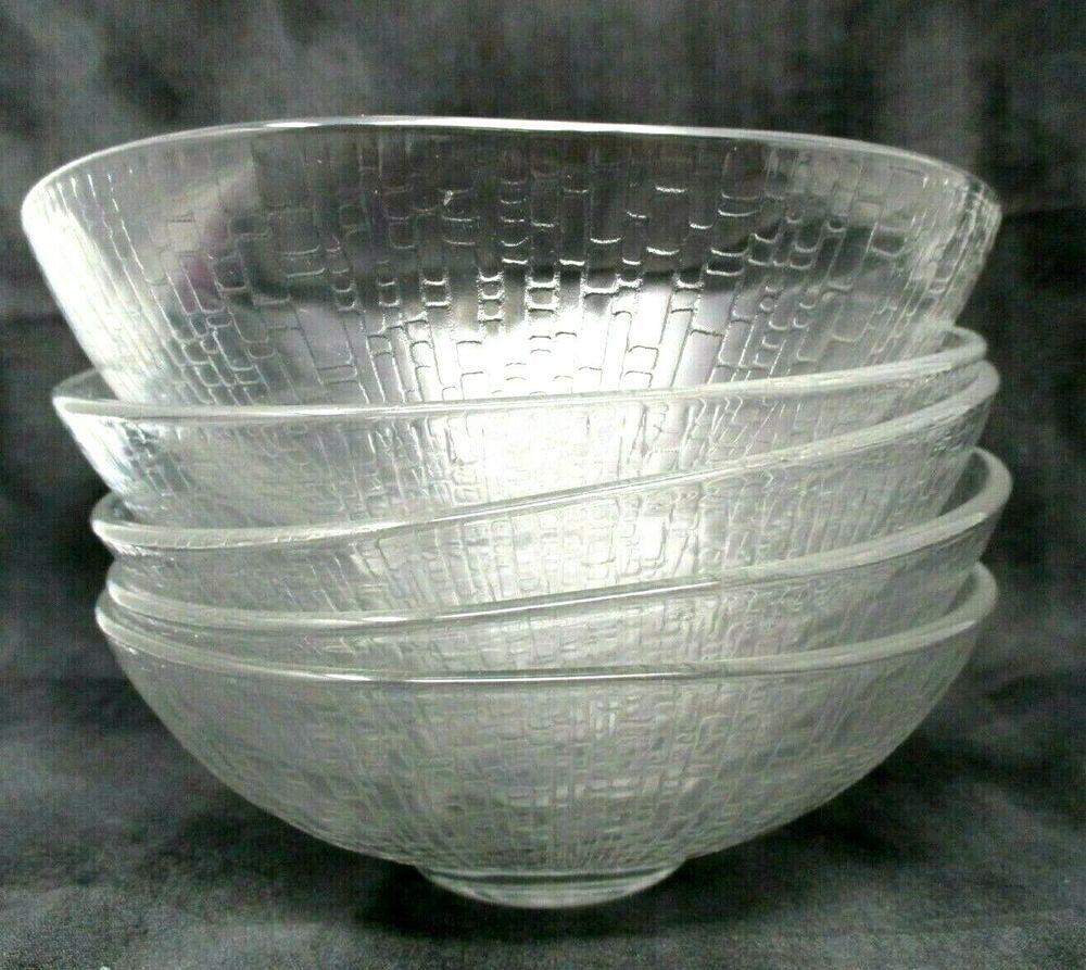 Vintage Clear Glass Bowls Arcoroc France Cereal Bowl Set of