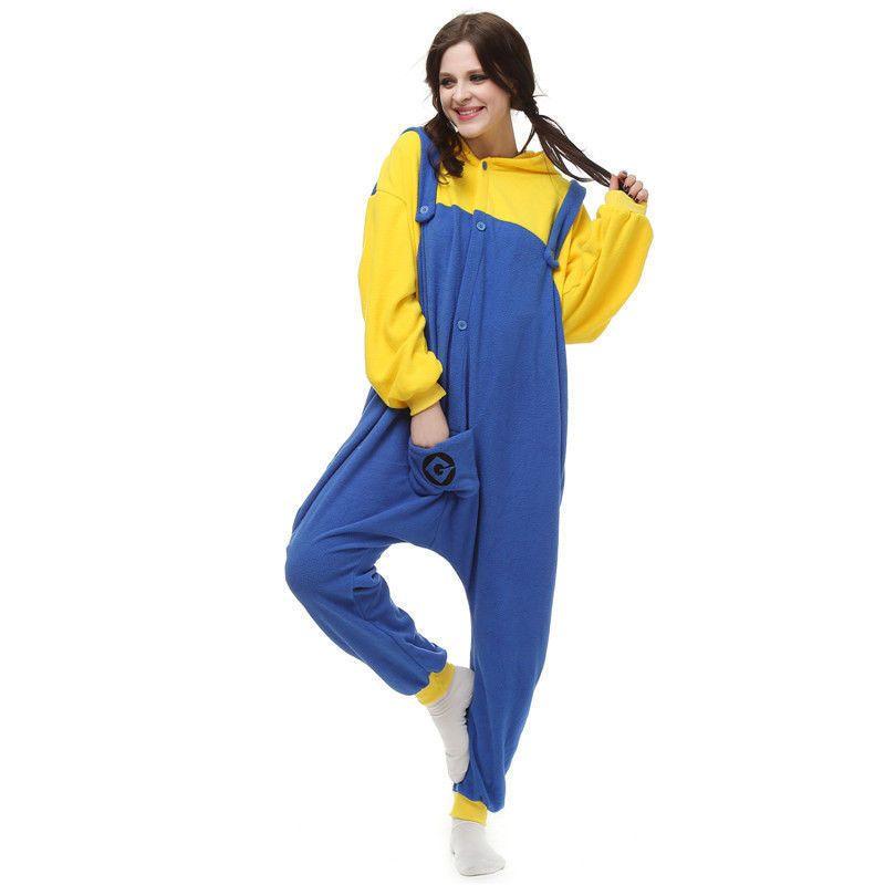 Minion Adult Kigurumi Pajamas Jumpsuit Sleepwear Anime Cosplay Costume f355809a96