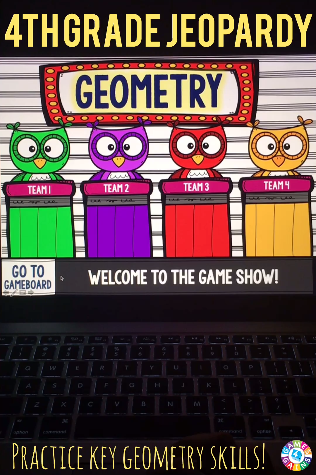 4th Grade Geometry Jeopardy Game Show 4 G 1 4 G 2 4 G 3 4 Oa 5 Video Video Jeopardy Game Geometry Games Quadrilaterals Activities [ 1620 x 1080 Pixel ]