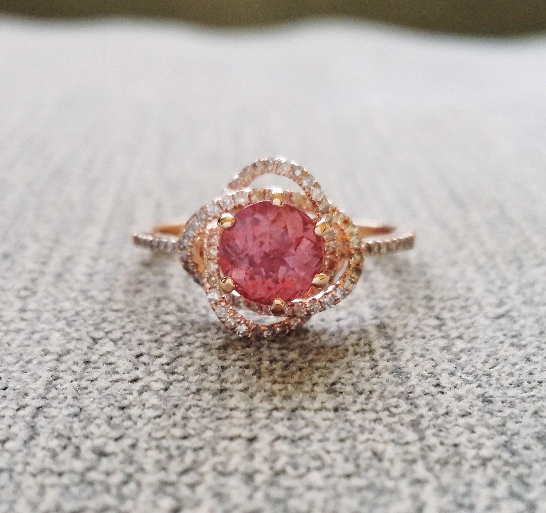 Halo grapefruit ruby diamond blush gemstone engagement ring custom