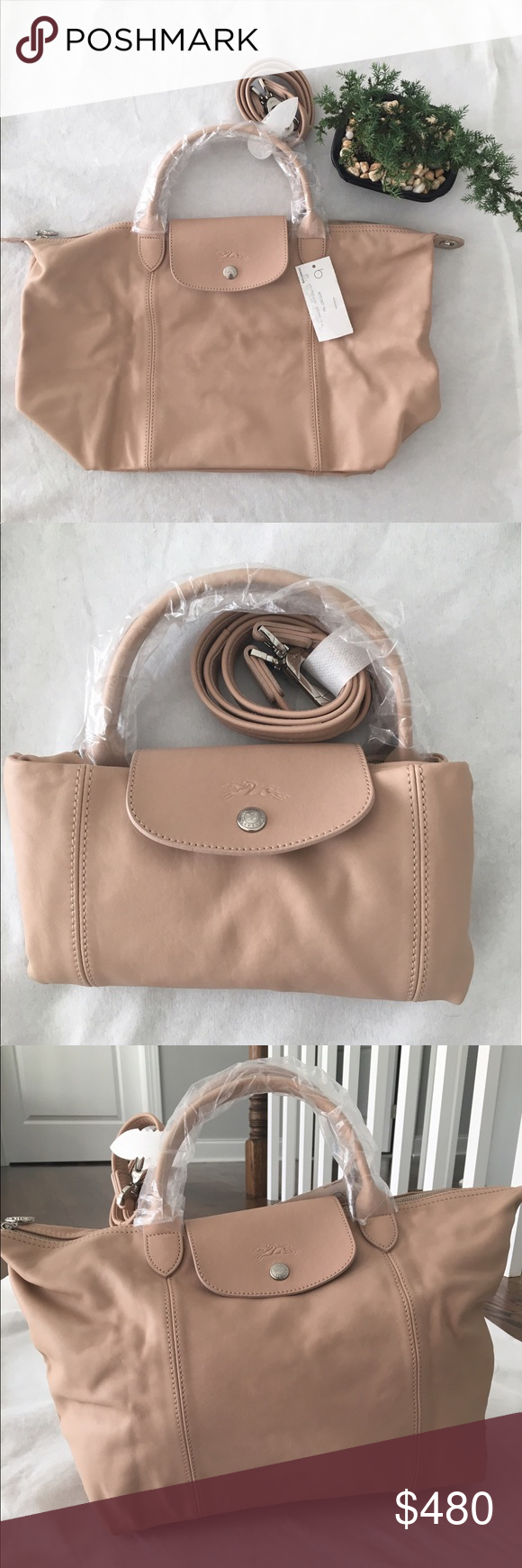 8fadf6139814 Longchamp Le Pliage Cuir NWT beautiful longchamp medium size leather bag.  Sandy Beige color