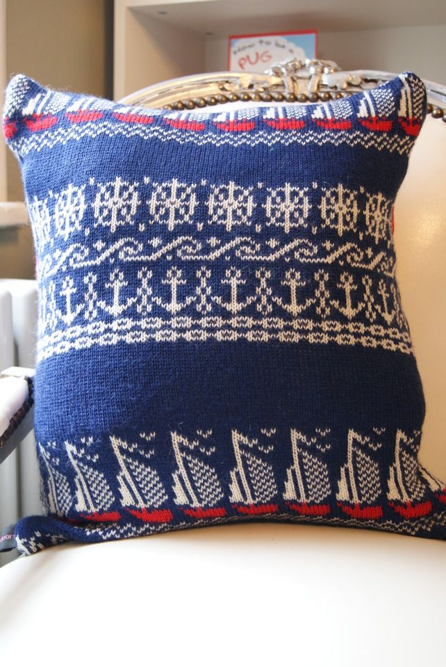 Nautical Knit Cushion   crochet & knitting fun ...