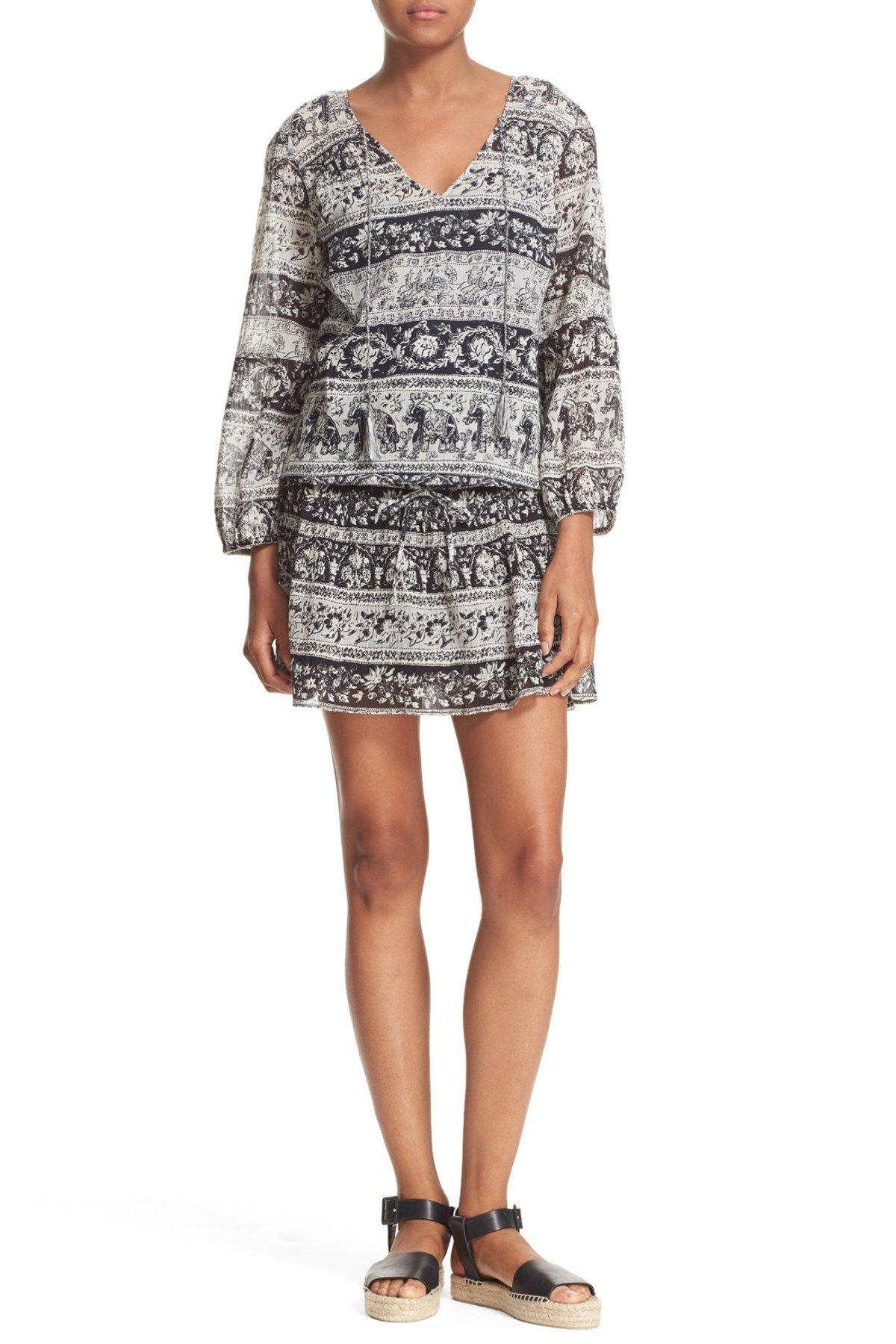 'Vork' Print Cotton Blouson Dress