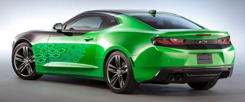 """carsthatnevermadeitetc: """"Chevrolet Camaro Krypton, 2015. Another SEMA conept, the fluorescent green colour is officially called Krypton Green """""""