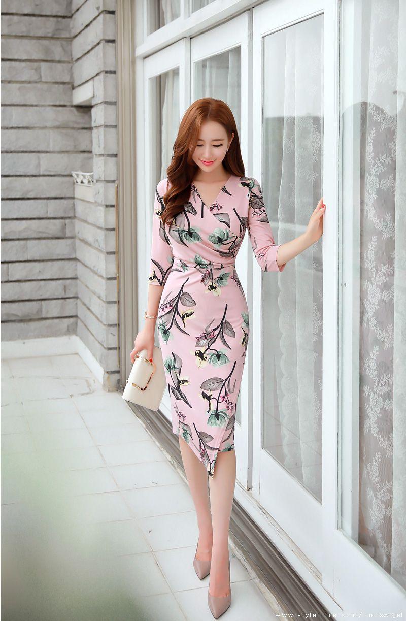Floral Print Slim Fit Wrap Dress Romantic Asian And Korean