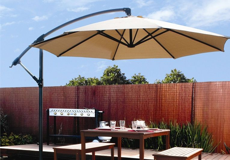10ft Out Door Deck Patio Umbrella Off Set Tilt Cantilever Hanging Canopy Tan Canopy Outdoor Patio Umbrella Patio