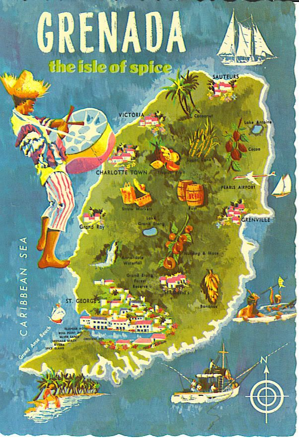 Postcard map of Grenada wwwhomeinstbartscom Villas in StBarts