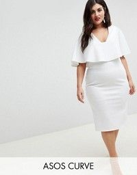 9cda870fa702 ASOS Curve | ASOS DESIGN Curve midi dress with double layer and square neck