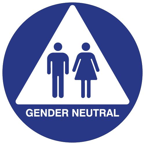 STOPSignsAndMore ADA Compliant All Gender Wall Sign with Wheelchair Symbol 8x9