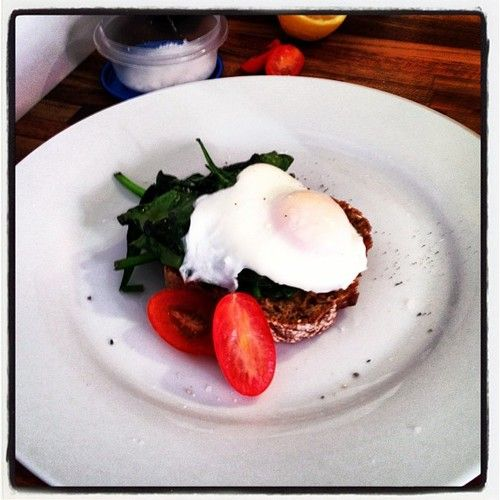 Poached egg with spinach.