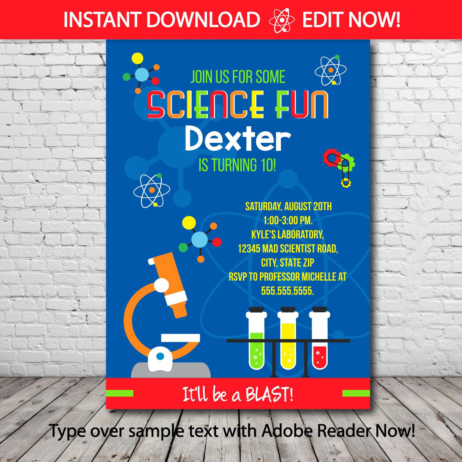Science Party Invitation - Science Birthday Invitation - Mad ...