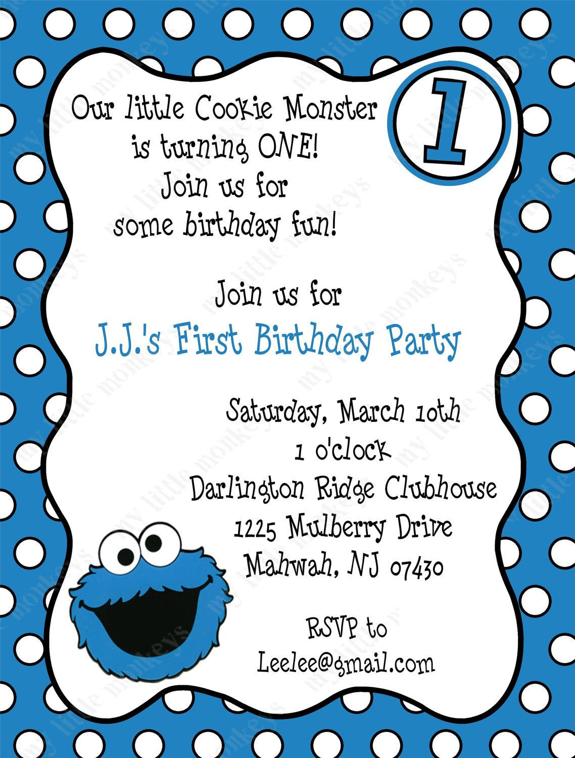 10 Cookie Monster Birthday Invitations with Envelopes. Free Return ...