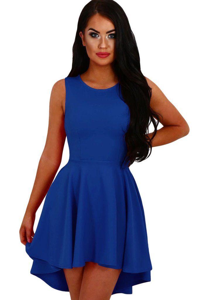590e9ed752e Robe Patineuse Courte Femme Bleu Royal Asymetrique Sans Manches   robepatineuse  robecourte  robecocktail