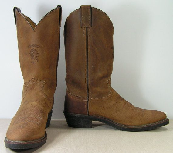 Chippewa cowboy boots mens 9.5 b brown distressed leather biker ...