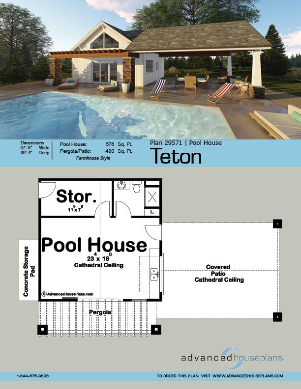 Teton Pool House Modern Farmhouse House Plan Pool House Plans Pool House Designs Pool House