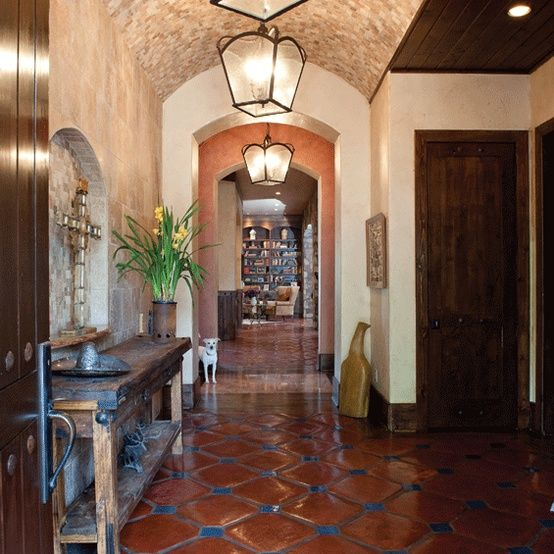 Spanish Hacienda Style Homes: Love The Tile With The Blue!