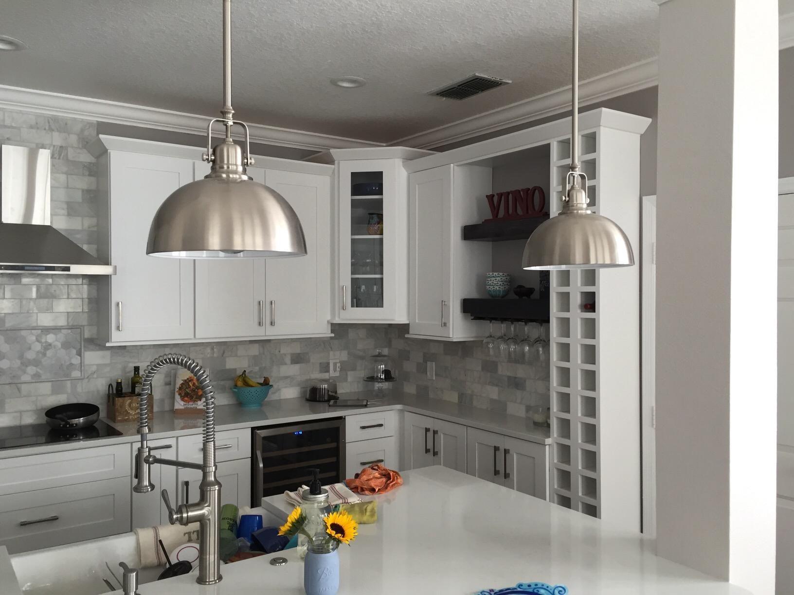 Bennington 2 Pack Of Ipl222b01 Bn Gd Hudson 1 Light Mini Pendants With Brushed Nickel Metal Shades Kitchen Remodel Home Decor Styles New Kitchen