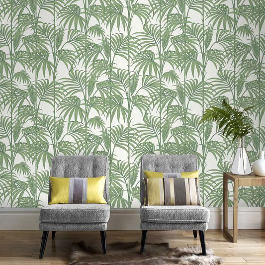 Honolulu Palm Green Wallpaper, , large | New Decor in 2019 | Green ...