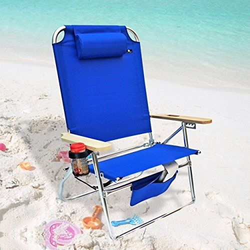 Extra Large High Seat Heavy Duty 4 Position Beach Chair W Drink Holder Check Out This Great Produc Beach Lounge Chair Beach Chairs Heavy Duty Beach Chairs
