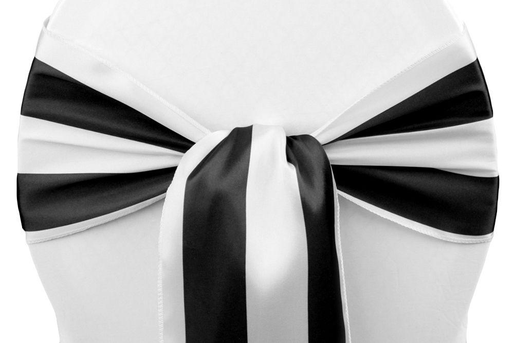 Stripe Satin Chair Sash Black Amp White Cv Linens