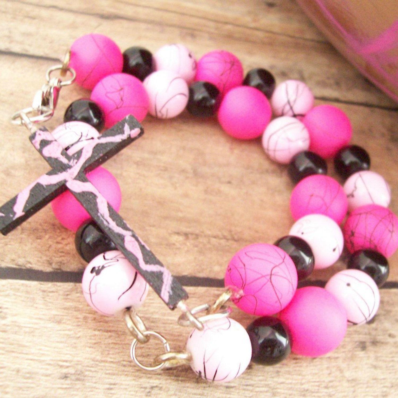 Pink Cross Bracelet Christian Jewelry Christian Bracelet Cross ...