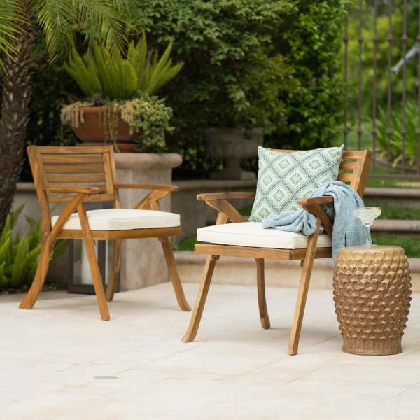 Noble House Hermosa Teak Removable Cushions Wood Outdoor Dining Chair With Cream Cushions 2 Pack 7244 In 2020 Outdoor Dining Chairs Wooden Armchair Cream Cushions