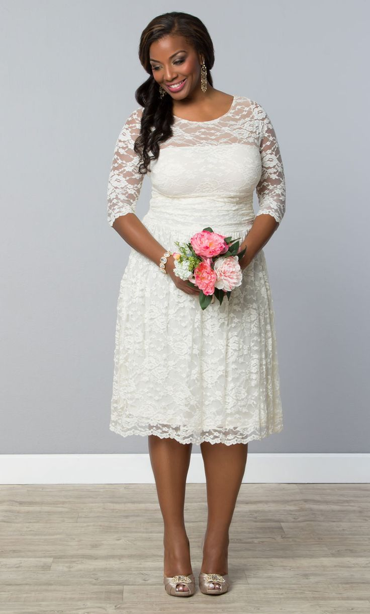 For The More Casual Bride Opt Our Plus Size Aurora Lace Wedding Dress Its Short Comfortable And Stunning