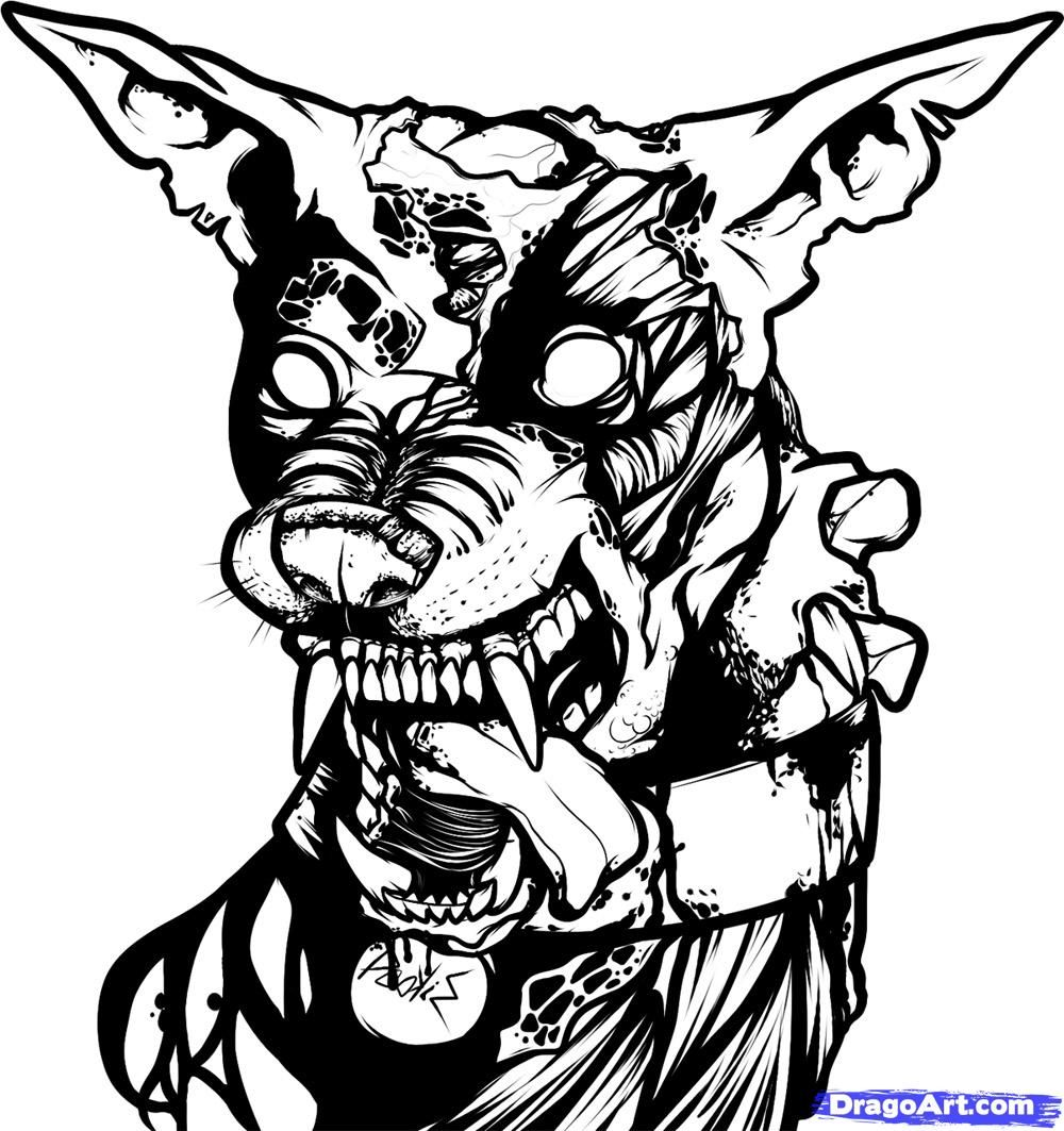 Zombie dogs coloring pages - Zombie Drawings How To Draw A Zombie Dog Zombie Dog Step 9